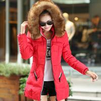 New Women Coat Raccoon Rur Collar Hooded  Zipper Pockets Fashion Casual Slim Warm Winter Parkas Down Jacket  Free Shipping XX691