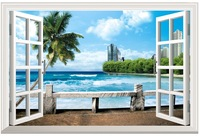 New HD  Pattern Seaview  Fake Window Sticker 105*70cm Sofa Background Art Mural Home Decor PVC Removable Wall Sticker hj-23