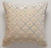Solid Beige Luxury Handmade Crystal Diamond Pearl Fashion Art Decorative Car Sofa Home Pillow Case Cushion Cover Throw Sham