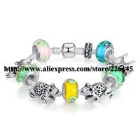 With Original Box New European Style Charm Glasses Gold Beaded Bangle Bracelets Handmade bracelets PA1038 suit for European