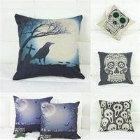 1 X Halloween Festival Skull Back Cushion Pillow Cover Case Linen Pillow Case