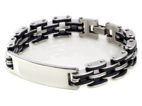 "High Quality Men's 8.3"" Cool Stainless Steel Silver Black Rubber Cuff Bracelet Link Bangle"
