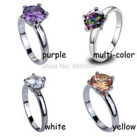 Wholesale Fashion Round Cut Amethyst & Rainbow Topaz & White Topaz & Morganite 925 Silver Ring Size 6 7 8 9 10 Christams Gift