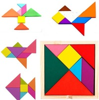 Hot selling Tangram 7Pcs/set Wooden Puzzle IQ Game Brain Teaser Jigsaw Intelligent Kid Toys