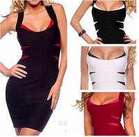 2014 Fashion Women's Autumn sleeveless Dress 4 Colors Backless Fashion Sundress Party Evening Dress KF086 S M L Plus Size