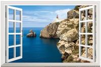 New HD  Pattern Seaview  Fake Window Sticker 105*70cm Sofa Background Art Mural Home Decor PVC Removable Wall Sticker hj-28