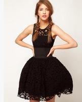 High-end lace embroidery net yarn ball gown dress vestidos autumn dress luxury celebrities princess party women dress patchwork