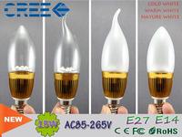 led lamp e14 led candle light 3w 5w 9w led bulb AC110V 220V 240V 360 Beam Angle Golden aluminum shell  led spotlight e12 led
