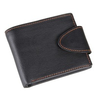 8060A  black color man vintage leather wallet with button
