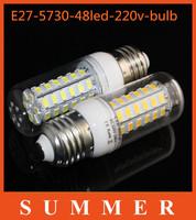 5pcs/lot E27 5730 220V 48 LEDs Spotlights Led light Max 15W Protect eye Corn Bulbs lamps Energy Efficient Lighting