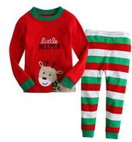 Girl's red Long sleeves set boys pajamas suits baby deer suit kids children clothing pajama sleepwear Christmas suits
