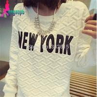 2014 Autumn Gagaopt woman sweatshirt New York letter pattern fashion woman tops all match basic female active T-shirts