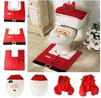 New XMAS Santa Toilet Seat Cover + Rug Bathroom Mat Set Christmas Decorations Free Shipping Wholesale