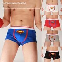 Hot Sale Superman Boxer Trunks Cotton Low Waist Boxer Shorts High Quality  Men Underwear--Free Shipping