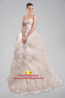 Grand A-line Wedding Dress in Pouring Ruffle Detail