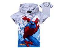 SY-055 Free Shipping New Children Summer Short Sleeve T-Shirts Boys Cartoon Spiderman Tees Kids Fashion Hoodies In Stock Retail