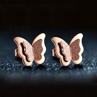 Free Shipping Elegance Rose Gold butterfly Stud Earrings Stainless Steel Delicate Butterfly Stud Earrings Chrismas Gift 283