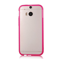 TPU Bumper Frame With Matte Clear Hard Case Cover For HTC One M8