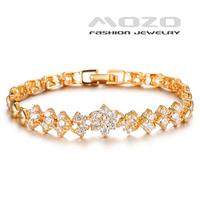 Wholesale new fashion jewelry flower type shining zircon plated18k yellow gold bracelet & bangle for women wedding jewelry TY429