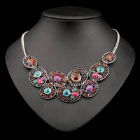 N-Z Vintage Acrylic Necklace for Women Statement Luxury Pendant Jewelry with Rhinestones 2 Colors JS-NL-01940