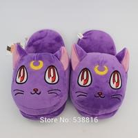 High Quality Anime Sailor Moon Soft Plush Toys Cartoon Slipper Purple Luna Cat Slipper Cartoon Slipper For Adult Retail