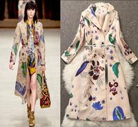 2014 winter autumn silk X long trench coat for women Elegant brand windbreaker ladies business casual with free belt