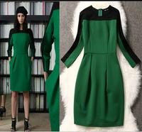 Fashions women winter casual dress High end brand vestidos patchwork European American British style new year vintage dress