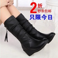 Free shipping 2014 new arrive brand fashion ladies leather long boots for women flat boots warm snow winter half boots 2541