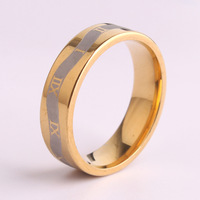 Wide 6mm Rome digital finger 316L Stainless Steel rings for men women 18k gold plated jewelry Free shipping wholesale