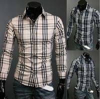 Spring / Autumn New plaid men's shirts  Fashion Slim long-sleeved casual shirts