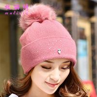Female autumn winter bomber hat owl women beanie cap rabbit fur winter warm caps ladies hats with ball New arrival top