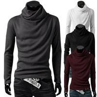 New Fashion Men's T-shirts All-match heap turtleneck long-sleeve t-shirt male long-sleeve T-shirt sweatshirt