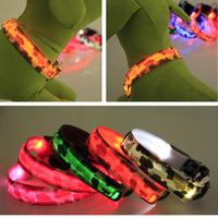 500Pcs/Lot 2014 New Camouflage LED Dog Collar Nylon Flashing Dog Collars Free Shipping