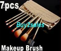 007 Shipping 7 Pcs Professional Makeup Brush Cosmetic set Kit with Gold Case RU