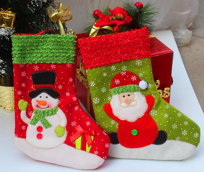 2014 Wholesale Christmas decorations,Christmas stockings, Santa Claus and snowman style,2 pcs/lot(China (Mainland))
