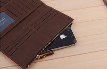 NEW FREE SHIPPING Men s Leather Long Drawer Wallets money clip Card package hot sale cell