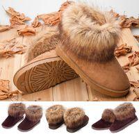 Women  Warm Shoes Winter Faux Fox Fur Revet Mid Calf Warm Snow Boots #65733