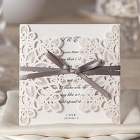 Free Shipping!High Class Champagne Color White Bow Wedding Invitations Cards (Set Of 30)