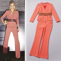 High end fashion Autumn 2014 women's belt V-neck blazer and flares pants pant suits