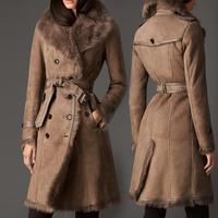 Women's medium-long 2014 double faced fur coat female fur overcoat sheep fur outerwear