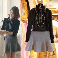 Free shipping 2014 autumn new women clothing set,skirt suit,women elegant hot sale lotus leaf-collar blouse and plaid skirt