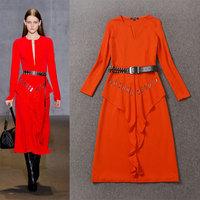 Autumn fashion women's 2014 brief V-neck ruffle hem dress casual dress with sashes