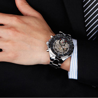 2014 New Fashion Brand Stainless Steel Band Automatic Mechanical Self Wind Watch Men Dress Watch Full Steel Watch L05631