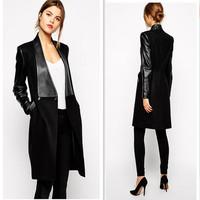 European Women's Warm Long PU Leather Sleeve Wool Jacket Coat Parka Trench Windbreake Black Winter Autumn Outwear Coat AY657268