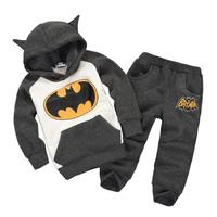 Retail fashion 2014 baby boys clothes set in winter 3~7age Children Outfits Tracksuit Batman pants two-pieces children sport