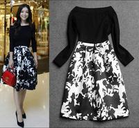 Europe Fashion Brand Design Runway Dress 2014 New Autumn Slash Neck Retro Flower Printed Dress