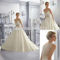 2014 Vestidos de Noiva Organza Wedding Dress Bridal Dress with Spaghetti Straps Beaded Open Back White Ivory