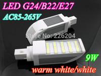 LED light 25leds 5050smd 9W G24 LED Corn Horizon Down Light Bulb Lamp AC220-240V 2years warranty CE RoHs