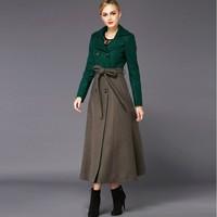 2014 New fashion women's winter long jacket patchwork wool coat double button slim plus size XXXL,4XL thick coat long overcoat