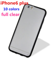 Free Shipping! full transparent soft tpu + pc hard case for iphone6 plus,candy silicone clear hard back case for iphone6 plus